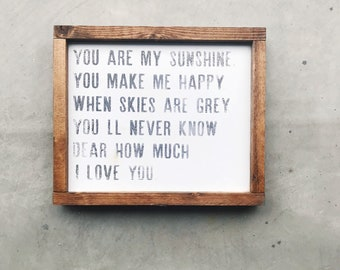 You Are My Sunshine Wood Frame
