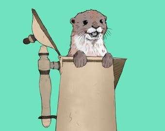 Otter in a coffee pot - A3 poster