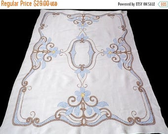 25% SUMMER SALE Big BEIGE cotton tablecloth with floral hand embroidery embroidered table cloth with Blue Flowers