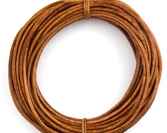 Brown Light Natural Dye Round Leather Cord 2mm 25 meters (27 yards)