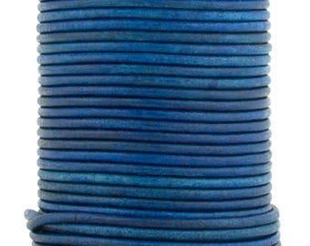 Xsotica® Royal Blue Natural Dye Round Leather Cord 1mm 100 meters (109 yards)