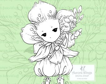 PNG Digital Stamp - Cherry Blossom Sprite 2 - Sakura Fairy Holding a Branch - Fantasy Line Art for Cards & Crafts by Mitzi Sato-Wiuff