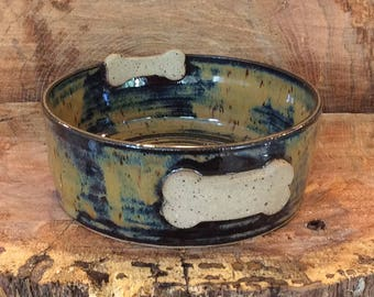 Pottery dog food bowl,  handmade dog food bowl