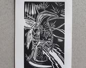 Avian Spark, bird, bird art, monochrome art, black and white, wall art, linoprint, bird print, original art, lino cut, yorkshire artist, art