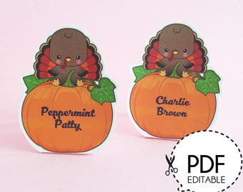 Give Thanks Thanksgiving Turkey Place Cards – Printable PDF Download