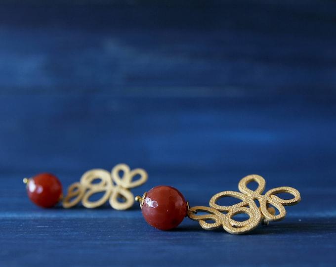 Corniola earrings, semiprecious stone jewels