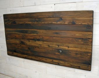 the Horizon Queen Headboard Panel made from Reclaimed Cedar (aka recycled  wood country home farmhouse