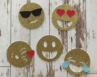 Glitter Emoji 15 pcs Die Cut/Party Decorations/Embellishment/Table Scatter/Gift Tags - Assortment