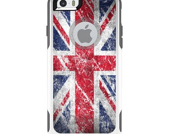 OtterBox Commuter for Apple iPhone 5S SE 5C 6 6S 7 8 PLUS X 10 - Custom Monogram - Any Colors - Red White Blue British Flag Weathered