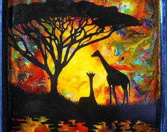 "Hand- painted, mix media panel, ""Sunset Giraffes"""