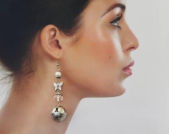 Long Butterfly Earrings Balls