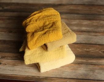 The Yellows (4) - REGULAR LENGTH Premium Natural Newborn Wrap - Large Cheesecloth Wrap - Baby Wrap - Photo Prop
