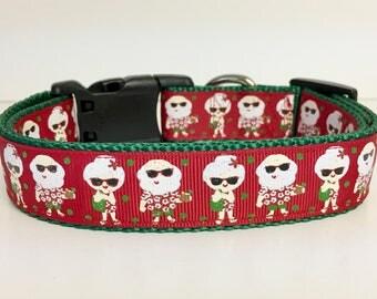 Tropical Santa - Christmas  - Dog Collar - Gift - Winter - Florida - Beach - Vacation - Seasonal - Snow -