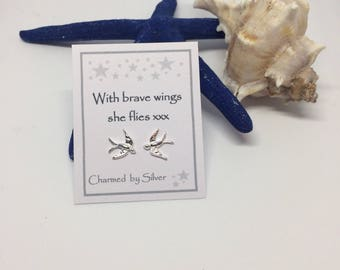 Sterling Silver Swallow Bird Stud Earrings with Message