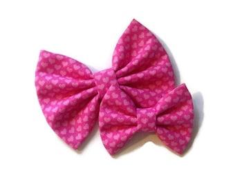Pink Heart Valentine's Bow | Fabric Bow | Handmade Hair Bow | Hair Clip | Headband