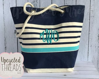 Striped beach bag | Etsy