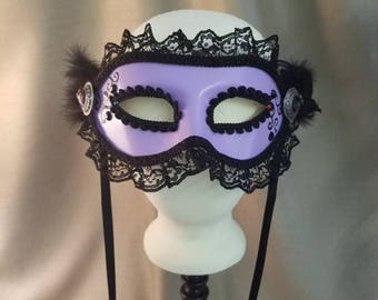 COQUETTE Lavender and Black  Handpainted Mask