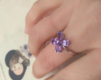 French vintage sterling silver  white gold plated  ring gemstone purple amethyst  faceted engagement  ring lucky stone size  7 flower shape