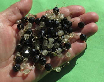 Lot Of Broken Necklace Pieces On Metallic Threads Bead Salvage