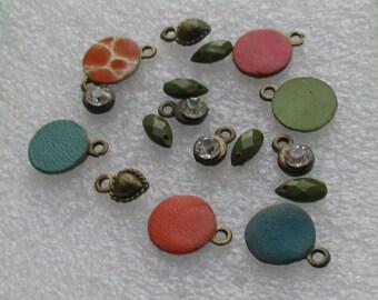 Lot Of Assorted Salvaged Boho Dangles Rhinestone Acrylic Dangles