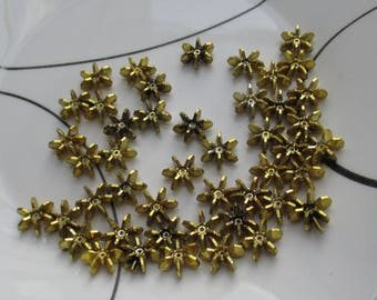 Lot Of Gold Colored Flower Shaped Plastic Beads Flaking TLC
