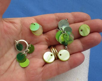 Lot Of Salvaged Green Dyed Shell & Sequin Dangles