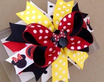 Minnie Mouse Hair Bow / Minnie Mouse Birthday Bow / Minnie Mouse Headband