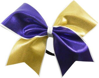 Purple and Gold Mystique Tick Tock Cheer Bow