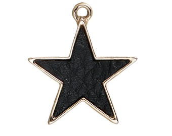 5 BLACK STAR Gold Plated Edging Leather Like Center - 24MM Black Star Pendants - One Inch Pentagram Star Charms