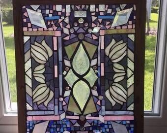 Stained Glass Window- window panel, mosaic, art glass, stain glass, mosaic stained glass, framed stained glass