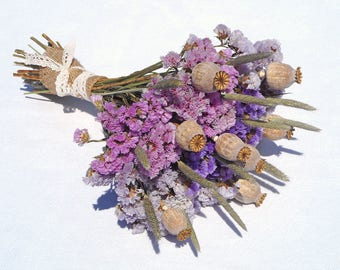 Purple flowers arrangement rustic bouquet dry flowers fall decoration autumn wedding dried bouquet new home gift table decor country home