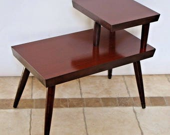 Atomic Era Mid Century Modern Brass Mahogany End Table two Tier Laminate Step Safe Insured nationwide shipping available  call for rates