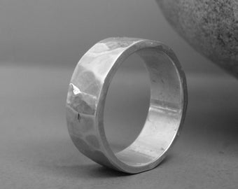 Hammered sterling silver ring men