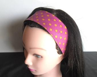 Bandeau cheveux fille à pois mauve et jaune