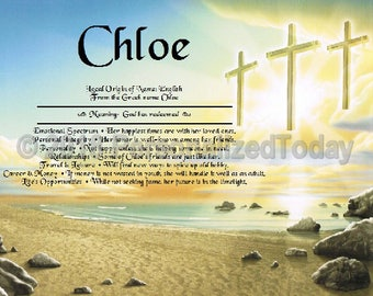 Cross Name Meaning Origin Print Name Personalized Certificate 8.5 x 11 Inches Customized With Any Name