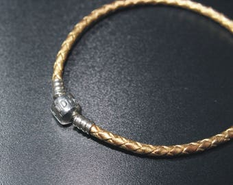 GOLD colour Braided leather PANDORA bracelet you choose size
