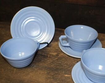 Hazel Atlas Moderntone Platonite Pastel Blue Coffee Cups and Saucers