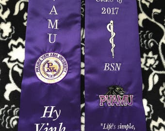 PVAMU Prairie View Texas A&M University Graduation Stoles Custom Options embroidery and applique'