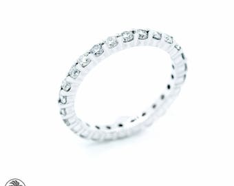 Eternity Ring, Full Eternity Diamond Wedding Band, Round Diamond Eternity Band, 14kt White Gold Diamond Band, Eternity Band | LDR02488