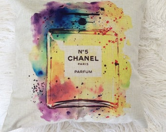 "Watercolor Fashion Inspired Art Pop perfume blue pink yellow logo print design Inspired pillow case cover linen 18""x18"""