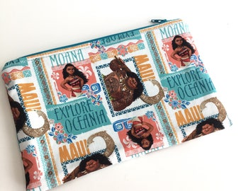 Moana Makeup Bag, Makeup Pouch, Zipper Bag, Zipper Pouch, Pencil Pouch, Pencil bag