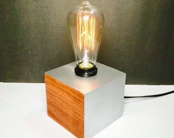 Edison Table Lamp Modern Wood Lamp Edison Bulb Lamp Steampunk Lamp  Industrial Lamp