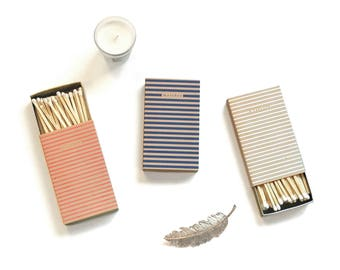 Set of 3 Striped Large Matchboxes. Pink, White, & Navy Blue with Khaki Stripes. Modern Matchbooks. Special Occasion Matches. Hostess Gift.