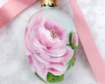 Handpainted Pink Rose Egg Ornament ~ Cottage Chic ~ Robins Egg Blue ~ Cottage Chic ~ Painted Easter Egg ~ ~Handpainted Roses