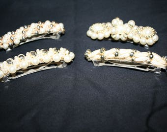 Set of Four Vintage Pearl Bead Barette Hair Clips