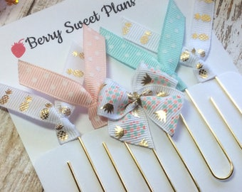 Pastel Pineapples - Set of 5 Ribbon Planner Clips / Bookmarks