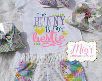 The Bunny Is My Bestie, Toddler Easter Outfit
