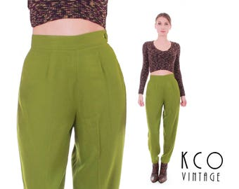 90s Vtg Green High Waisted Tapered Pants Avocado Rayon Wool Pleated Trousers Women's Size XXS / XS