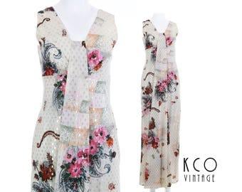 70s Lurex Maxi Dress Gold Off White Floral Long Sleeveless Disco Boho Retro Vintage Clothing Women's Size SMALL