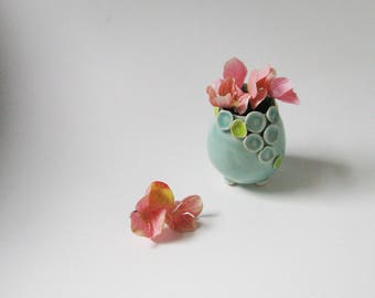 Tiny yellow and blue green porcelain vase / small windowsill vase by echo of nature , Yumiko Goto